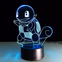 Pokemon Go Lampara Squirtle 3d Luz Decorativa Noche Adorno