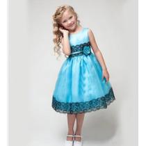 Vestido Festa Infantil Azul Importado - P. Entrega!