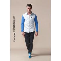 Camisa De Jean Con Mangas En Algodón Strech Marca Altoretti