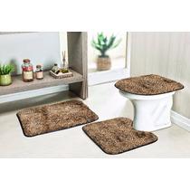 Jogo De Tapete Para Banheiro 3peças De Pelucia Cor Onça