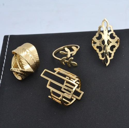 Kit 4 Anéis Folheado Ouro 18k, Kit Semi Joias Luxo Anel - R  79,50 em  Mercado Livre 92c9595eb1