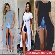 Maxi Blusa Vestido Feminina T Shirt Fenda Viscose