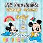 Kit Imprimible Mickey Mouse Bebe Invitaciones Tarjetas