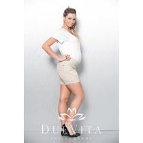 Shorts Comfort Maiorca Areia P/g - Moda Gestante Due Vita