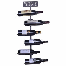 Estante Para Botellas De Vino Welland Negro De Pared P/6