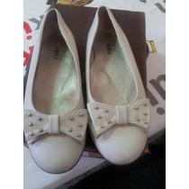 Zapatos Ferli Cuero Color Hueso Nº 31 Una Sola Postura