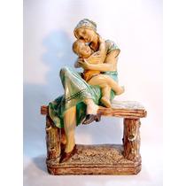 Antiga E Grande Escultura Em Gesso Mãe E Filho Rara Déc 30