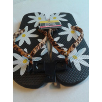 Chancletas Cholas Flip Flop Para Damas Decoradas # 38