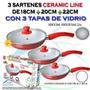Sarten Ceramica Ceramicore 18,20,22 Cm Con Tapa De Vidrio