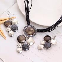 Joyería Conjunto Collar Y Aretes Bolitas Negra- Cs021