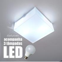 Kit 8x Plafons Led Acrílico 30x30 Luminária Com Lâmpada