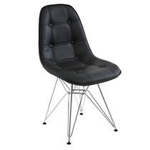 Cadeira Dkr Charles Eames Estofada Couro Botonê - Base Inox