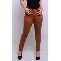 Calça Jeans Sarja Feminina Marrom Caramelo Skinny