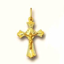 Pingente 2.8 Cm Crucifixo Ouro 18k 0.6 Gr Cruz Cristo Jesus