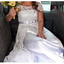 Vestido De Noiva Cetim E Renda Francesa Estrutura Corpete