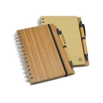 Bloco De Anotações Capa Bambu Pequeno E Caneta 006