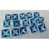 10 Pedras Topázio Azul Swiss Blue Carrê 6 Mm Extra
