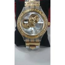 Relógio Feminino Dourado Strass Swatch Swiss Irony Esqueleto