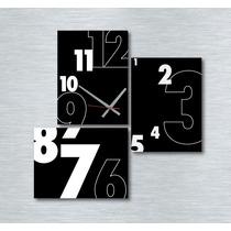Cuadro Tríptico Reloj Diseño Moderno Decoracion 70x70cm