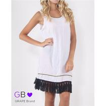 Vestido Blanco Con Flecos, Talle Unico. Codigo V0354