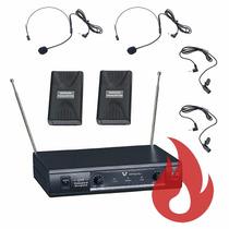 Microfone Sem Fio Duplo Lapela + Auricular Icm Iv-2005 Loja