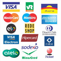 5x Adesivo Cartões De Crédito Visa Master Hipercard Elo Rede