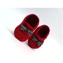 A99 Sapatinho De Croche Masculino Vermelho Lacinho Menino