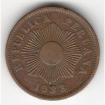Moneda Peru 1 Centavo (1933) Republica Peruana Sol
