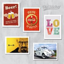 Placas Decorativas Varios Temas Retro Vintage Bebidas Frases