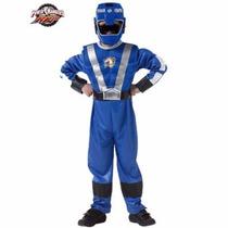Fantasia Power Ranger Azul Rpm Infantil C Músculos E Máscara