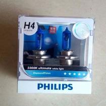 Lampada Diamond Vision Phillips H4 5000k Efeito Xenon Hid