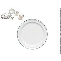 Plato Plano Peltre Blanco Filo Negro 26 Cm Cinsa 6pz.