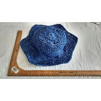 Sombrero De Rafia Azul Pieza Única Manualidad Mexicana