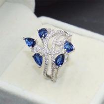Anel Feminino Prata 925 Safira Azul E Topazios Aro 21