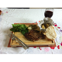 Tabla Plato Madera Para Picar Carnes 24 X 35 Juego De 6 Pza