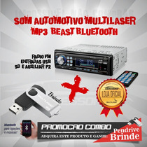 Mp3 Multilaser Beats Bluetoth/usb/sd/aux/controle + Pendrive