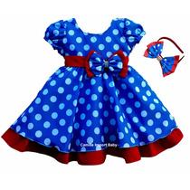 Vestido Festa Luxo Infanti Azul Galinha Pintadinha E Tiara