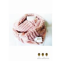 Bufanda Circular Tejida A Mano Color Rosa