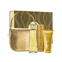 Estojo Linda Boticário Perfume+bolsa+desodorante+creme Mãos