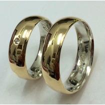 Par Aliança Prata 925 Revestida Em Ouro 18k - Casamento