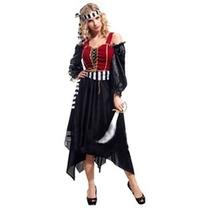 Fantasia Feminina Almirante Pirata Luxo - Tamanho Único