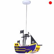 Lampara Colgante Infantil Barco Pirata Candil Luz Techo E27