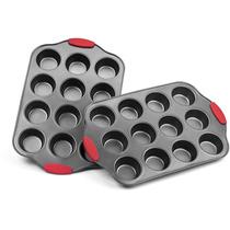 Elite Bakeware Nonstick Muffin Pan Con Mangos De Silicona