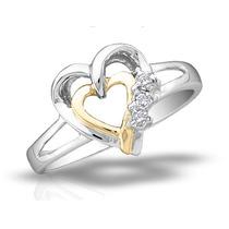 Anillo De Diamante Del Corazón En Plata De Ley Con 14k Amar