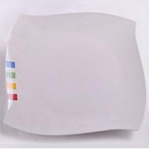 Plato Playo X6 Porcelana Diseño Cuadrado Primera Calidad
