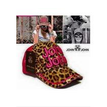 Boné Feminino John John Animal Print Pink