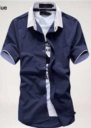 Camisa Social Manga Curta Slim Kazam Frete Grátis P  2 Un - R  69 81f2fef5bc5a6