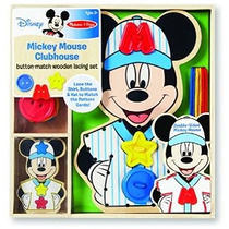 Casa De Mickey Mouse Button-partido De Madera Set Lacing