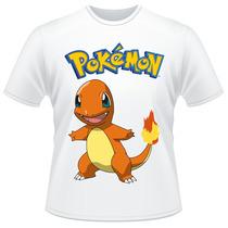 Camiseta Infantil Pokemon Charmander Anime Desenho Camisa