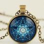 Colar Pentagrama Supernatural Sobrenatural ( Fundo Azul )